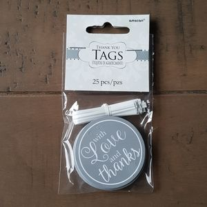 """25 Silver Thank you Tags 2""""x2"""""""